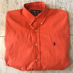 Orange Ralph Lauren Button-Down Polo Mens Casual